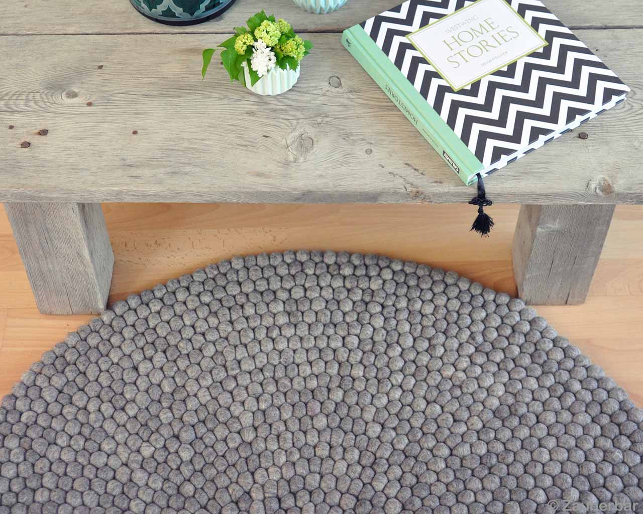 Wooden Bench Natural Colors Round Rugs 2