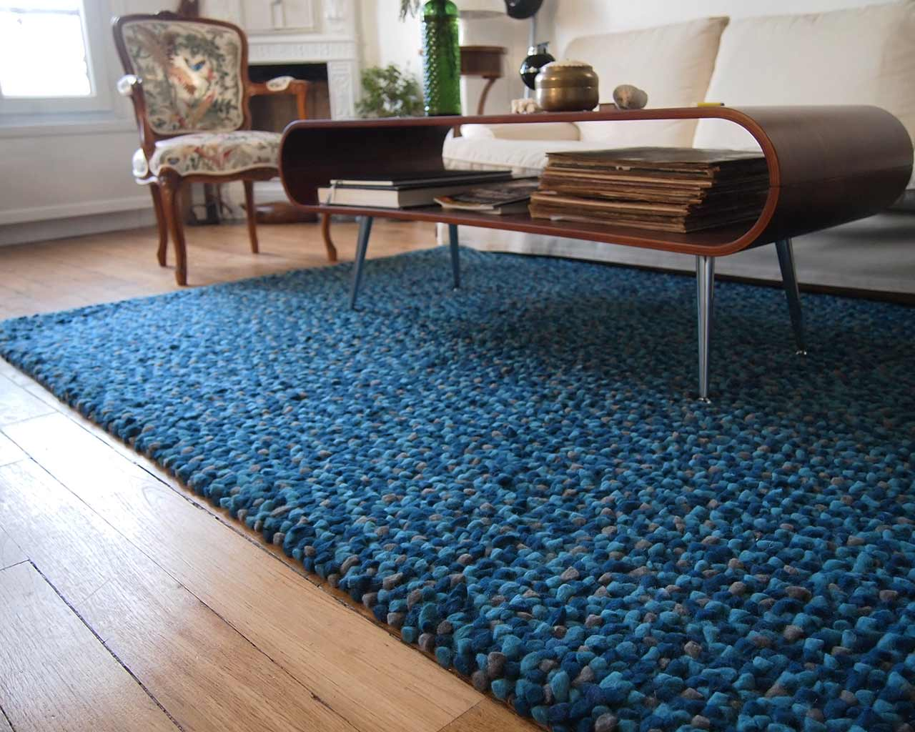 blue colors handmade carpet wool felt living room design furniture