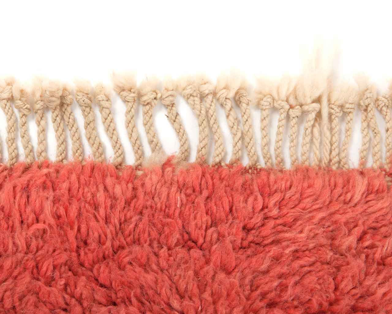plain pink carpet white fringes 1