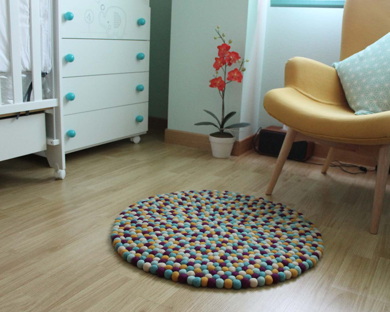 pot with nice red flower from nepal contemporary rugs