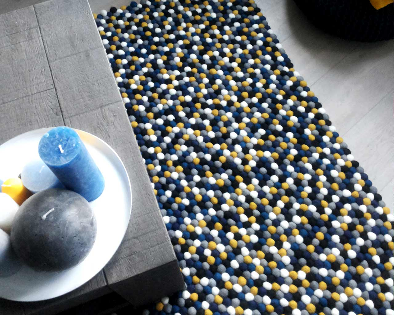 candles personalised rug blue black yellow